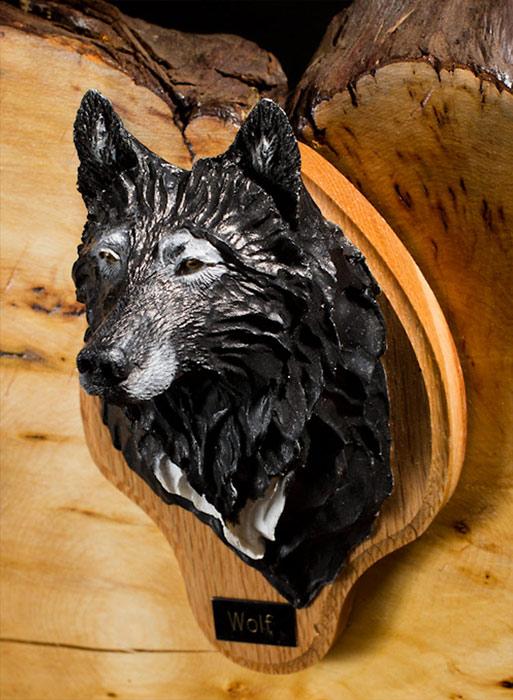 Black Wolf Bust